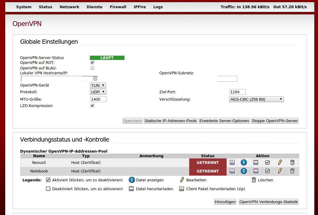 OpenVPN auf dem IPFire installieren